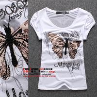 2014 beaded diamond colored drawing print butterfly gauze puff sleeve slim female short-sleeve T-shirt