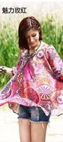 free shipping ! girl's bohemian chiffon blouse ladies' loose casual print shirt Female fresh high quality summer clothing