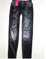 Free shipping Fashion and sexy version of the big flower Seamless Denim Leggings nine points women's leggings -WZ076