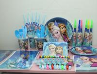 Frozen birthday party supplies 6people (62pcs) Luxury party theme decorated party supplies set FROZEN princess Elsa & Anna Olaf