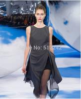 New 2014 Spring Autumn Summer Women Cute Beautiful Gray Dress Dresses Split Irregular Fold Organza Perspective Free Shipping hsj
