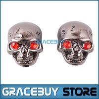 2 Pcs Black Skull Head Electric Guitar Volume Tone/ Tuning Knob, Bass Metal Tuner Pot Control Knobs
