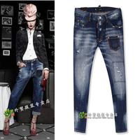 2014 pocket wearing white slim mid waist jeans trousers female