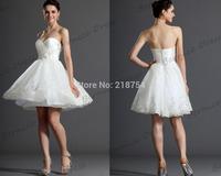 Summer Short Sweetheart A-line White Tulle Appliques Mini Vestidos Romantic Wedding Dresses Bridal Dress 2014 HIgh Quality