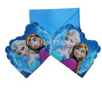 NEW 2014 Kids Party Supplies Frozen Elsa & Anna Cards Children Birthday Invitation Card