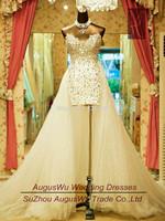 AWL3031  Hot sale Asymmetrical V-Neck Beaded Tulle lace-Up White China Wedding Dress 2014 Custom Size Custom Color