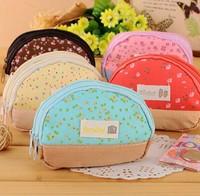 Free ship 1lot=10pcs/korean stationery kawaii Double zipper cotton double zero wallet coin bags school supplies