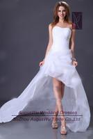 AWL3033 New Strapless Beaded Organza lace-Up Ivory Asymmetrical China Wedding Dress 2014 Custom Size Custom Color
