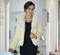 new 2014 winter High quality warm 100% Fox Fur collar + Rabbit Fur coat women clothing female fashion Casual short clothes 6993