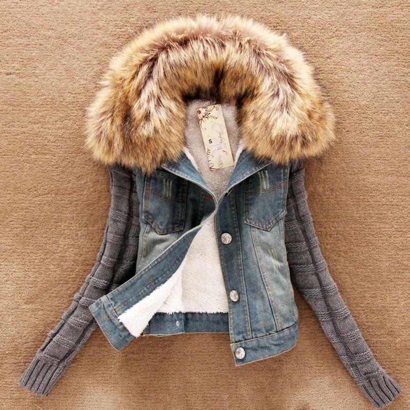 New 2014 short denim jacket women winter slim yarn large fur collar lamb cotton denim outerwear jeans detachable fashion(China (Mainland))