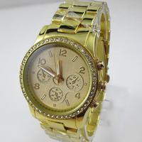 Qmm Top Brand Luxury 24k Gold Plated Plating Quartz Fine Steel Man Men Wrist Watch Wristwatches With Date---swg0022