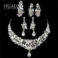 New Arrival  Luxury Bridal Jewelry Sets CZ Rhinestone Necklaces/Earrings/Headdress/Brooch Wedding Jewelry Sets For Women #N10002