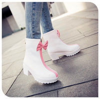 2014  sping/autumn winter  White, black, pink  women  boots bowknot Sweet  little short boots have big size 4-10  free shipping