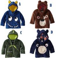 Retail&wholesale 2014 winter baby boys cartoon coral fleece jacket,children outerwear,kids wind-proof thermal overcoat jackets