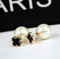 YTEH39 Designer Korean Big Pearl Stud Earring 14K Real Gold Plated Flower Lady OL Elegant Earrings Jewelry Statement For Women