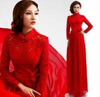 Fashionable Winter New Stand Collar Lace Red Long evening dress Flower prom dresses 2014 vestidos de festa vestido longo E97