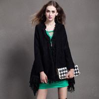 European stations 2014 Autumn Ladies New Socialite Stylish Temperament sweater Tassels Irregular Cardigan Jacket
