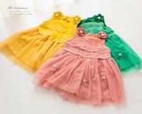 4pcs/lot New 2014 baby girls fashion hot cute casual flower lace yarn princess dress children kids autumn clothes C022