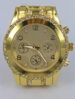 2014 Qmm Top Brand Luxury 24k Plated Plating Quartz Fine Steel With Reshinestone Wrist Watch Wristwatches With Date---swg0025