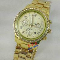 2014 Qmm Top Brand Luxury 24k Plated Plating Quartz Fine Steel With Reshinestone Wrist Watch Wristwatches With Date---swg0024