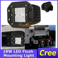 2X 5INCH Cree Square Mini Led Work Light Spotlight Light 12V/24V Flush Mount Auxiliary for Jeep Bumper 4x4 18W Spot/Flood Beam