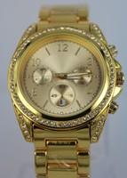 2014 Qmm Top Brand Luxury 24k Plated Plating Quartz Fine Steel With Reshinestone Wrist Watch Wristwatches With Date---swg0026