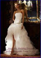 AWL30367 New Asymmetrical Strapless Beaded Organza White Short Front Long Back China Wedding Dress 2014 Custom Size Custom Color