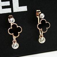 YTEH41 Designer Unique Women 14K Real Gold Stud Earrings Resin Crystal Flower Lady OL Formal Party Earring Charm Wedding Jewelry