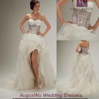 AWL30369 Sweet Sweetheart Appliques Beaded White Organza Short Front Long Back China Wedding Dress 2014 Custom Size Custom Color