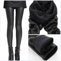 Winter Thick Velvet High quality Faux leather leggings Fashion Women warmer pencil pants