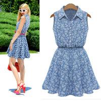 2014 Popular Summer Women Dress Lapel Sleeveless Casual Slim Denim Dress Tonsee