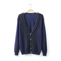 821Autumn new arrival lace stitching V-neck knit cardigan women's casual slim sweater