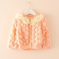 5pcs/lot New 2014 baby girls fashion cute casual flower princess sweaters coat children kids autumn clothes C022