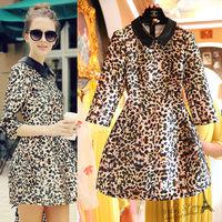 Free shipping 2014 autumn new women elegant leopard print dress, peter-pan collar work style ball gown dress