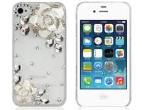 Camellia Design Rhinestone Decorated  Plastic Protective Case for iPhone 4S/4     LIP-5310D