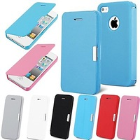 Free shipping Magnetic Pouch Flip Leather Case for iPhone 5/5S (Assorted Colors)