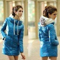 New Autumn and winter women slim cotton-padded coat  Women down cotton-padded jacket medium-long wadded Long jacket #NB05