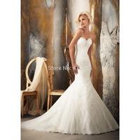 Mermaid Sweetheart Organza Long Wedding Dress With Beading and Embroibery HWGJMWD7