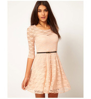 Summer Dress 2014 Sexy Spoon Neck 3/4 Sleeve Lace Dress Belt Include European style Mini dress