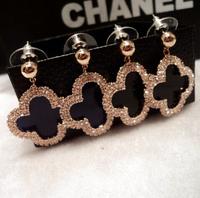 YTEH43 Designer Luxury Unique Women Charm OL Formal Black 14K Real Gold Dangle Earrings Crystal Clover Jewelry For Women Brincos