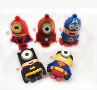 Free ship Super hero America captain/Bat man/Iron man minion usb flash drive 2.0 memory flash stick pendrive Genuine M23