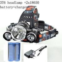 Boruit RJ-3000 3x CREE XM-L T6 4 Modes 5000-lumen Rechargeable Led Headlamp Headlight Light+18650 Batteries+Charger