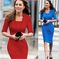 Princess Kate Middleton Same Style 2015 New Women Slim Half Sleeve High Quality Blue One-piece Dress  Women Dresses  A107