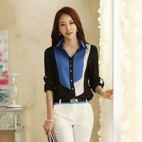 New large size women's career blouse shirt Korean version of the influx of women chiffon shirt female long-sleeved OL shirt