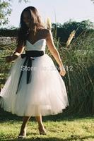 New Fashion Snow White Empire Waist Short Tea-length Wedding Dress with Black  Bow Sash Bridal Gown Vestido De Noiva 2014