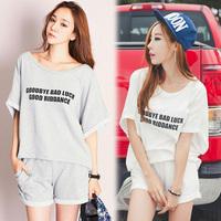 2014 super fashion women's batwing sleeve casual short-sleeve T-shirt sports set loose plus size shorts sweatshirt twinset