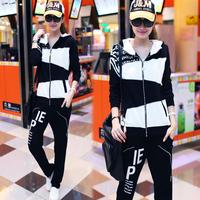 2014 Best price Plus size twinset sweatshirt set female thin long-sleeve casual sports set female FREE SHIPPING FREE GIFTS