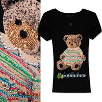 2014 sweet cartoon diamond paillette slim o-neck women's short-sleeve t-shirt summer
