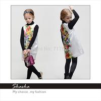 2014 Famous brand DG designers princess FLOWERS dress girls party dresses kids vintage clothes children clothing Italy style