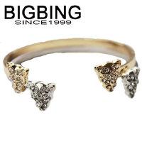 BigBing jewelry Fashion Crystal wild leopard head cuff bangle fashion jewelry good quality nickel free Free shipping! G3351